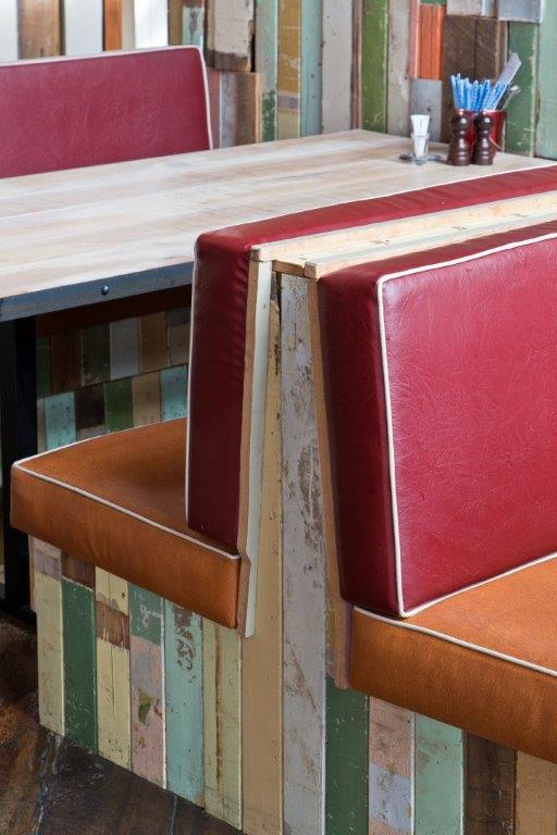 Crab Shack restaurant in Wellington red and wooden booth seating design