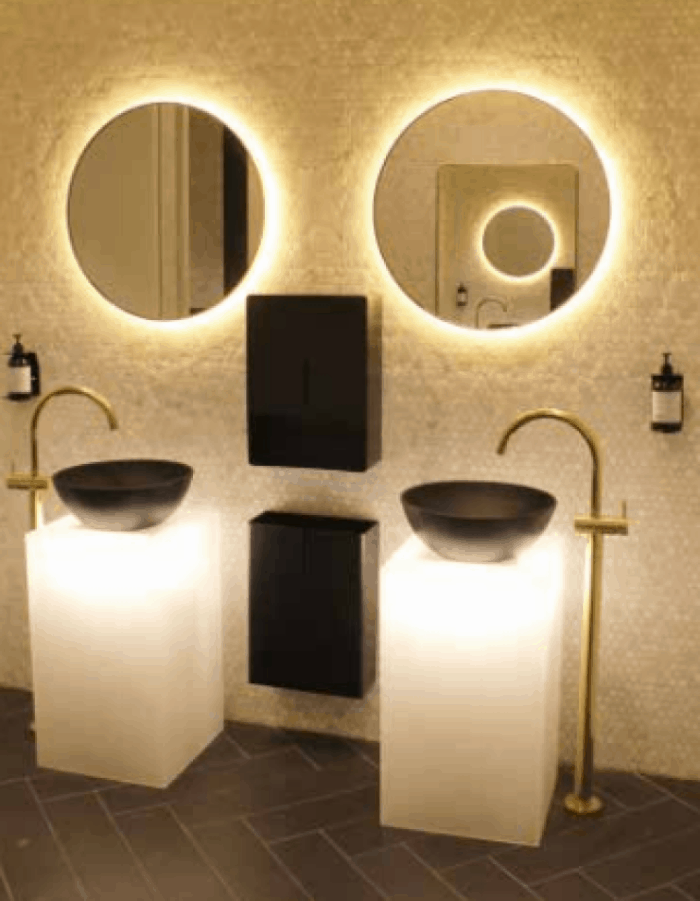 Euro restaurant in Auckland bathroom design featuring two wash basins and mirrors