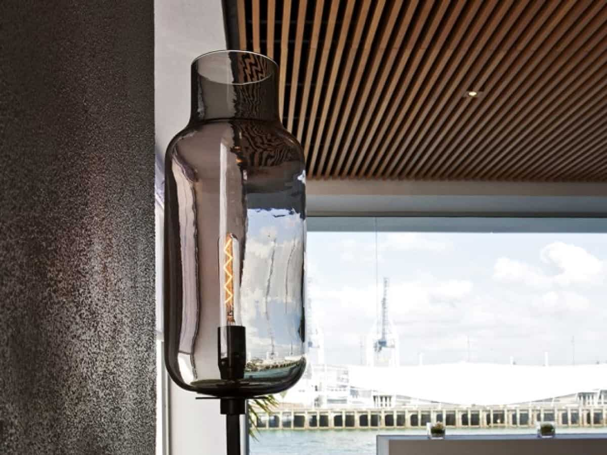 Fish restaurant in Auckland light fitting design with view of water in the background