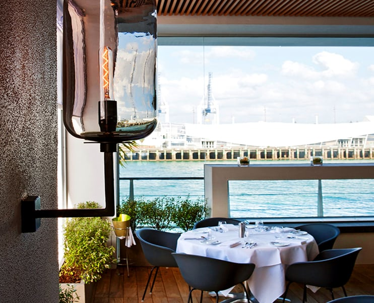 Fish restaurant in Auckland outdoor dining area with glass light fitting