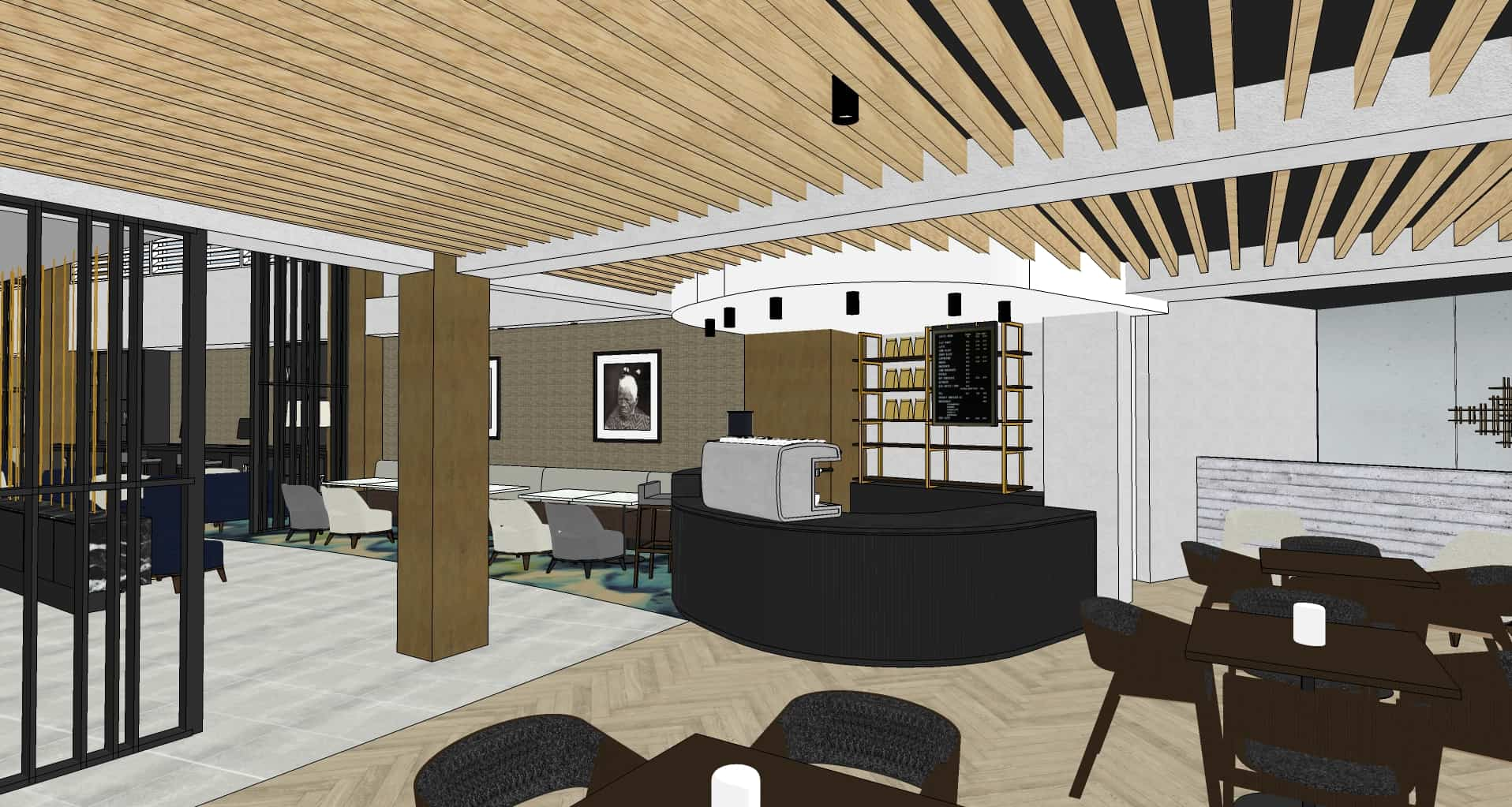 Sheraton Four Points hotel in Auckland bar design drawing