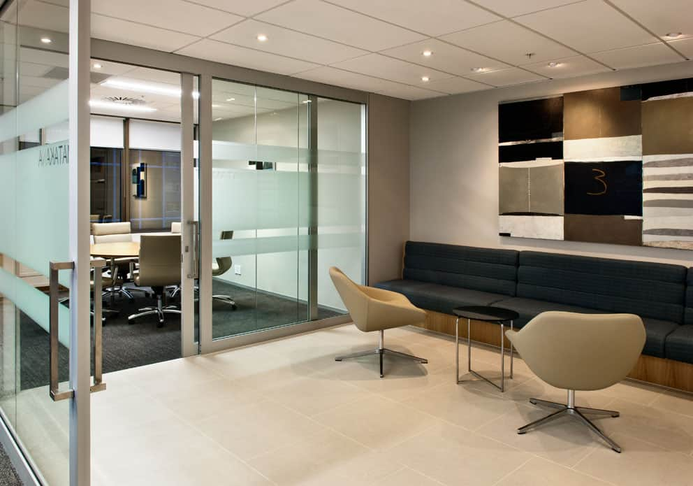 BNP Paribas in Wellington office workplace waiting room designs including table and chairs and glass room dividers