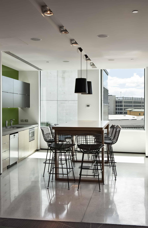 Citrix office in Auckland workplace kitchen design with bright green splashback