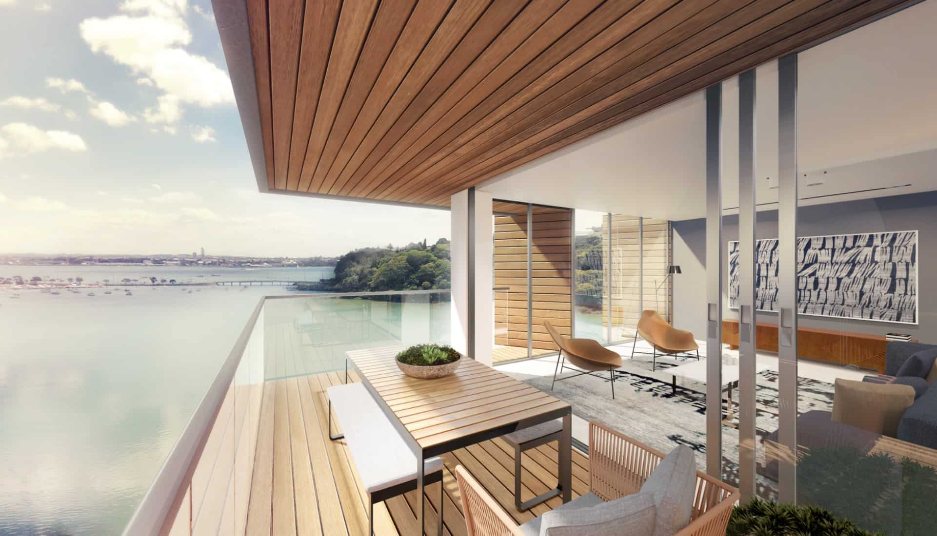 Orakei residential Apartments in Auckland drawing for the design of the deck with a view of the water in the background