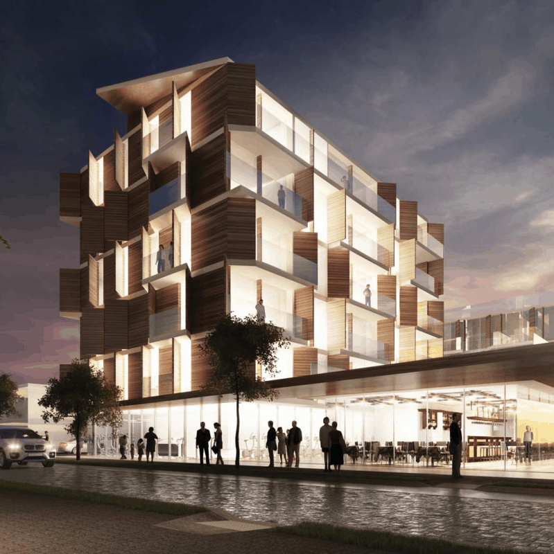Orakei Village commercial Auckland exterior design drawing at night