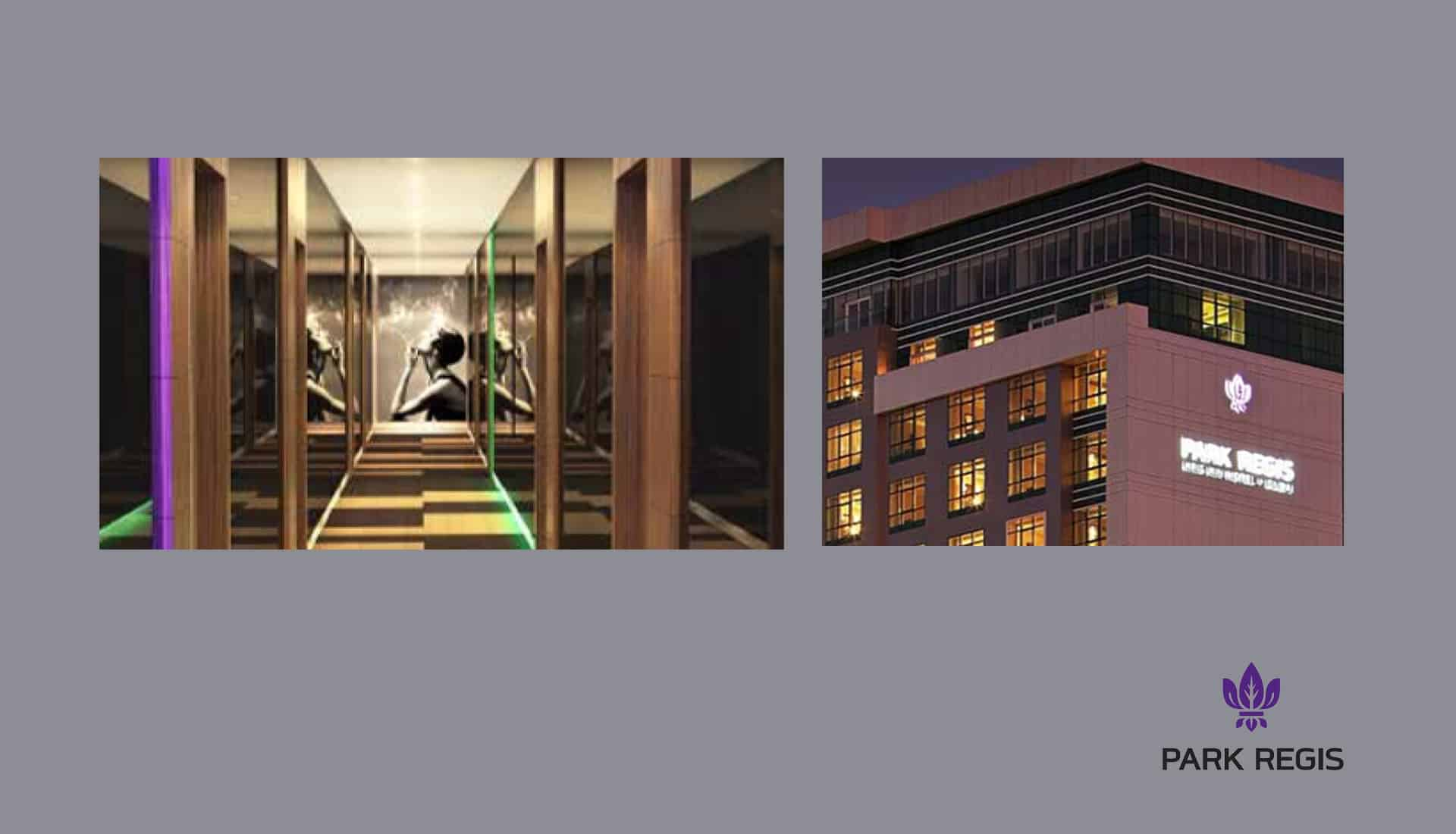 Park Regis hotel in Sydney hallway design drawing with artwork of vintage lady smoking cigarette on back wall and also image of the exterior of the building