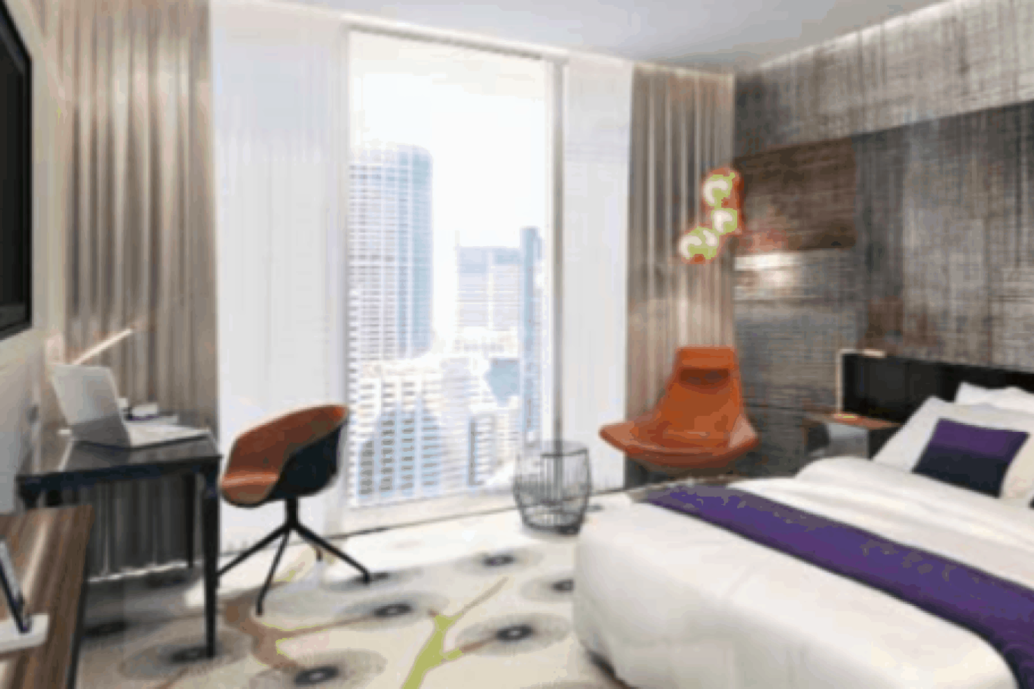 Park Regis hotel in Sydney room design drawing with bed, table and view of the city
