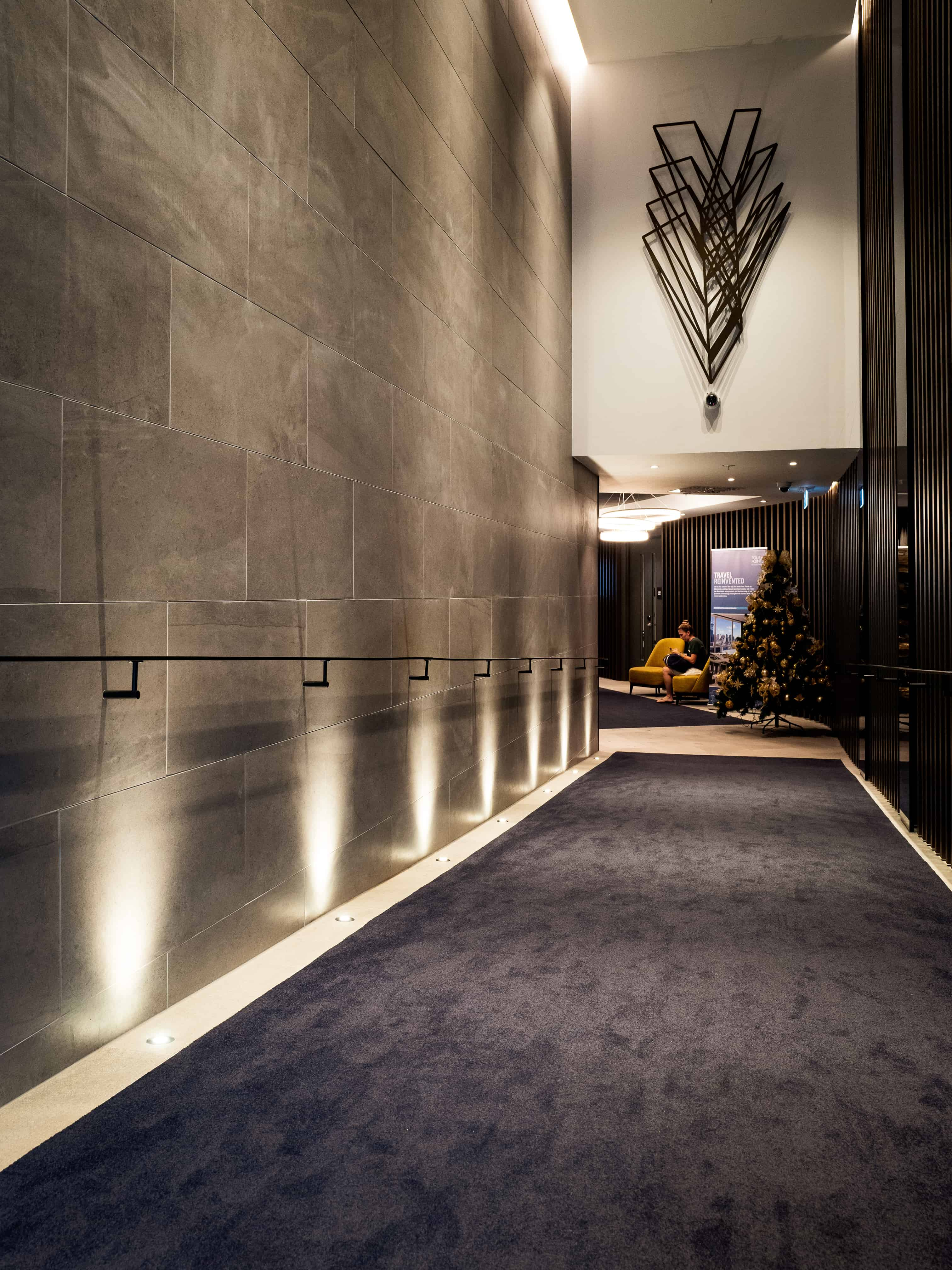 Sheraton Four Points hotel in Auckland hallway design with Christmas tree