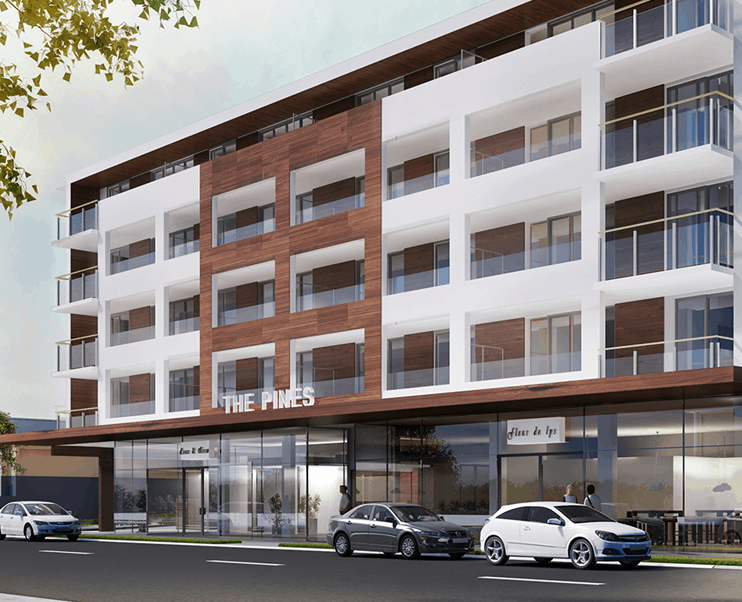 The Pines, Bute Road residential apartments in Auckland closeup exterior design drawing