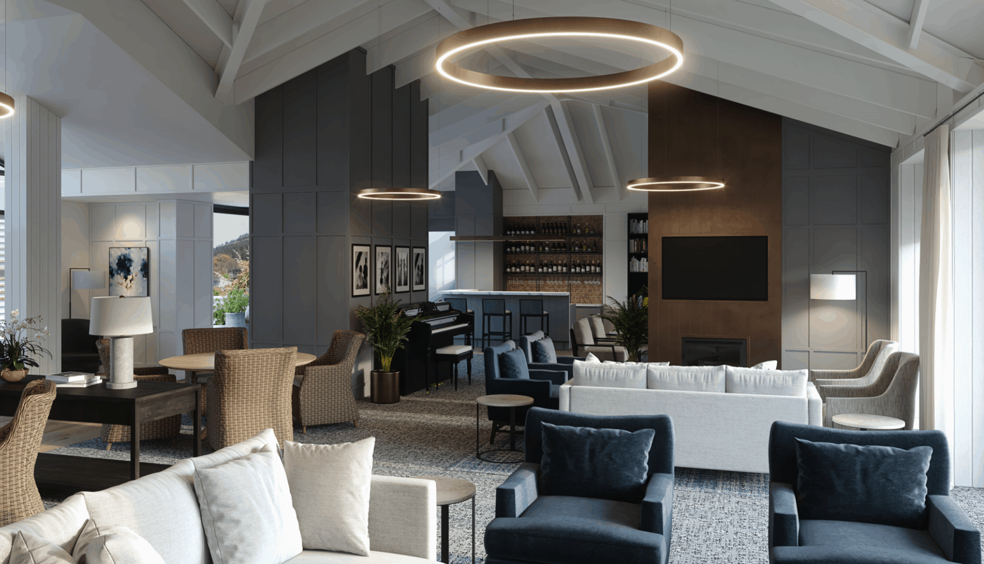 Longview Apartments retirement village aged care facility in Wellington shared lounge design with tables and chairs and sofas