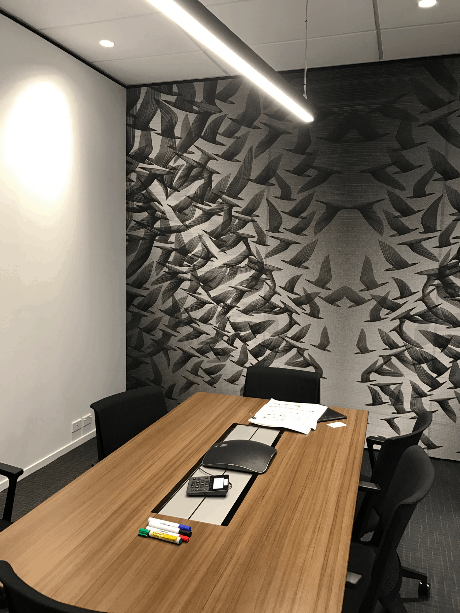 IBM office in Auckland workplace meeting room design with feature art wall with birds on it